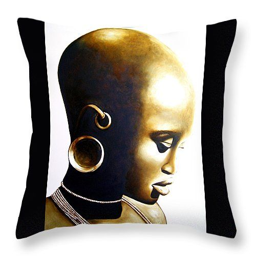 """African Lady Throw Pillow 14"""" x 14"""" by Tracey Armstrong"""