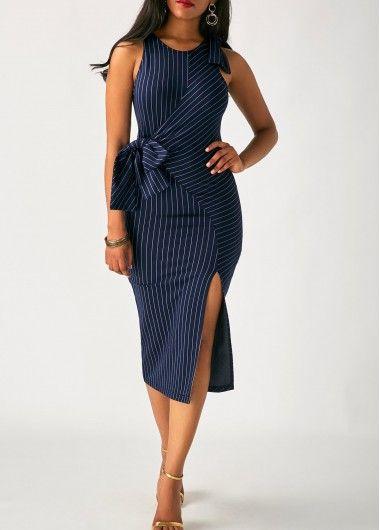Sleeveless Striped High Waist Side Slit Dress | Rosewe.com - USD $33.08