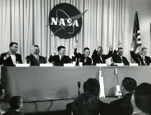 """gusgrissom: """" On April 9, 1959, the Mercury Seven were introduced to the world (and each other) for the first time. Scott Carpenter, Gordo Cooper, John Glenn, Gus Grissom, Wally Schirra, Alan Shepard, and Deke Slayton were announced as NASA's..."""