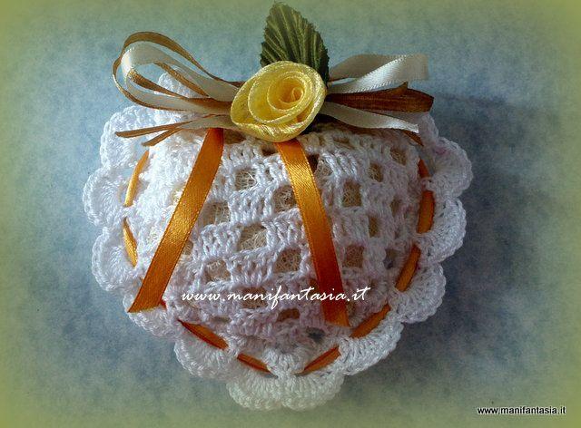 cuori uncinetto portaconfetti a filet per bomboniere matrimonio battesimo comunione cresima laurea nozze d'oro e argento