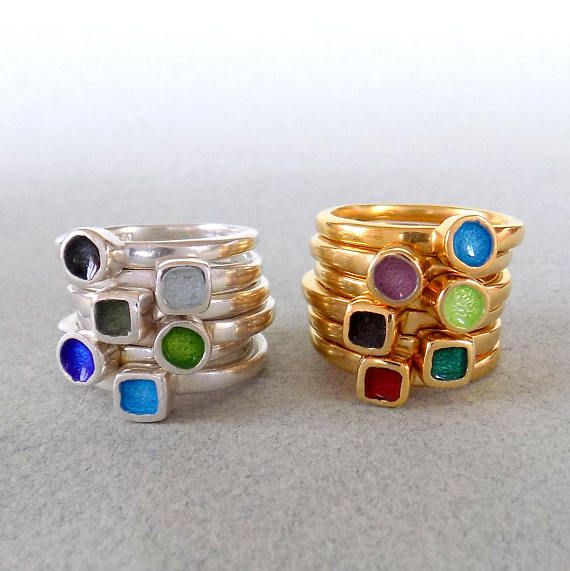 SILVER ENAMEL RING/ stackable ring/ square ring/ christmas
