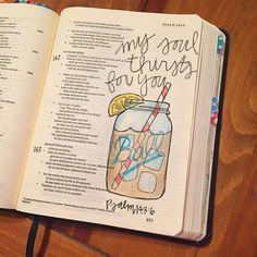 Bible Journaling by @bumbleandbristle | Psalm 143:6