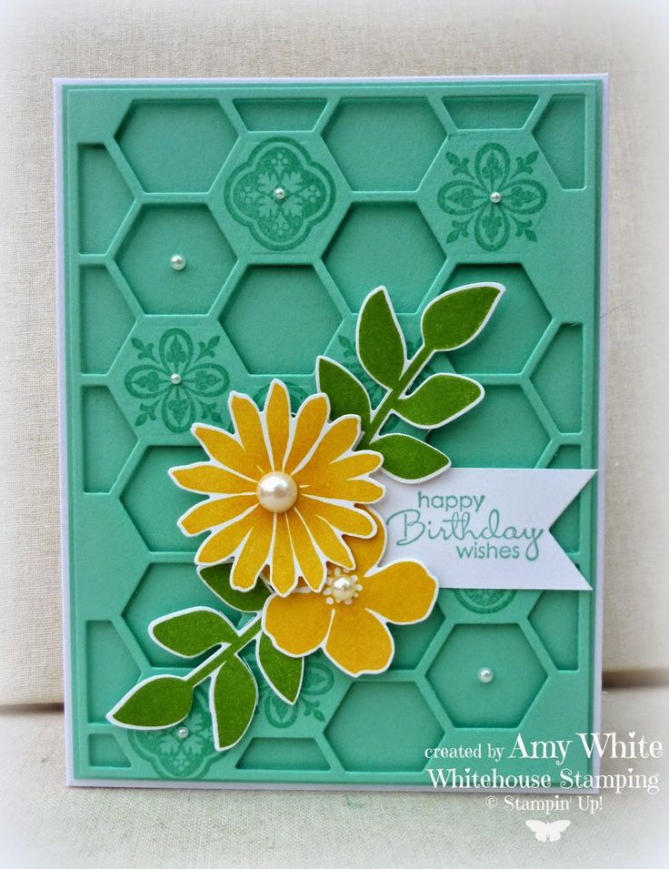 Amy White: White House Stamping: Secret Garden Hive... - 4/18/14 (SU: Hexagon Hive/ Secret Garden stamp/dies flowers)