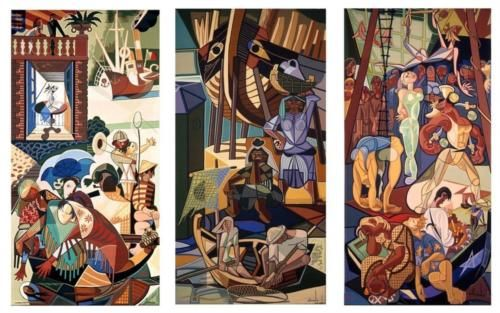 A Sunday in Lisbon, tapestry - Jose de Almada-Negreiros. Note: color palette.