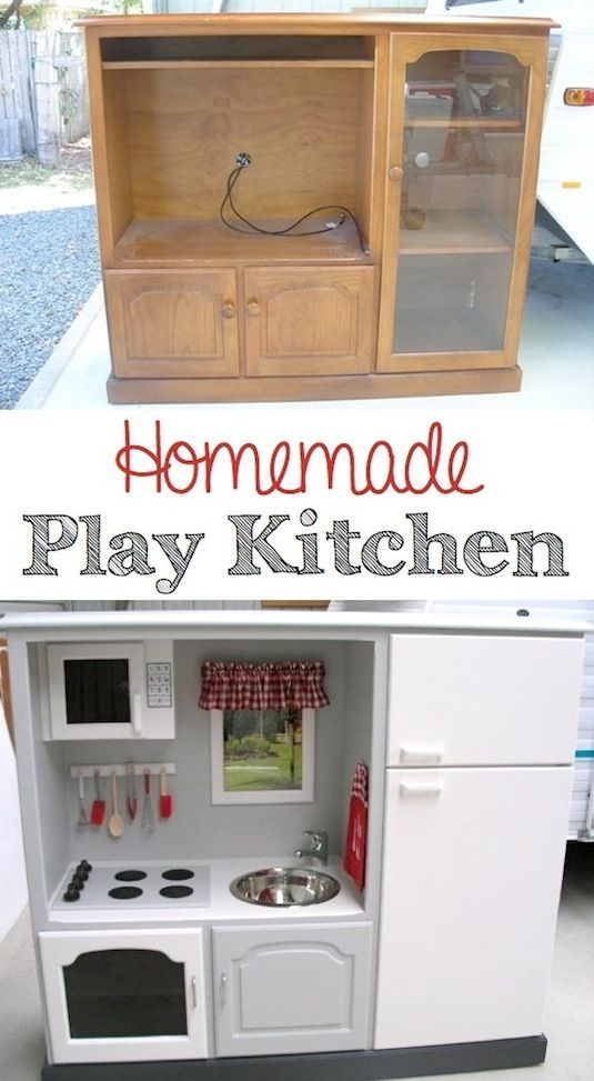 TV unit turned into an adorable play kitchen. So much cooler than the plastic store-bought kind. via Giggleberry  Creations.