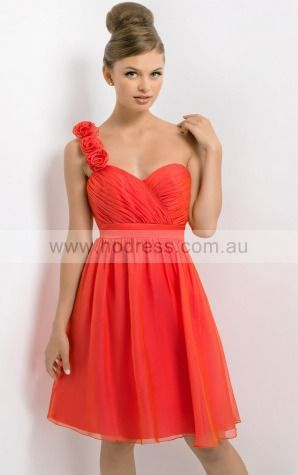 Chiffon One Shoulder Empire A-line Knee-length Bridesmaid Dresses 0740149--Hodress