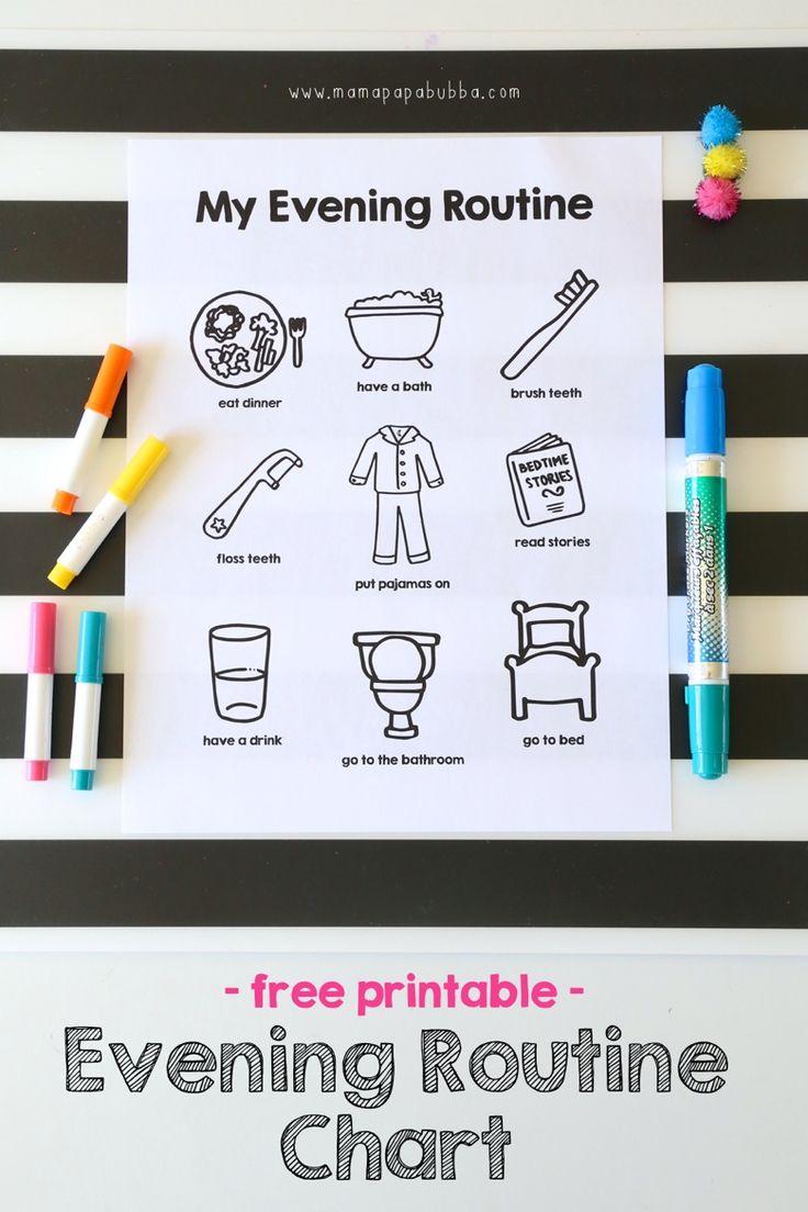 Printable Evening Routine Chart | Mama.Papa.Bubba.                                                                                                                                                                                 More