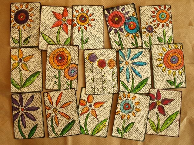 Watercolor Flower ATC's by Shanda Panda, via Flickr
