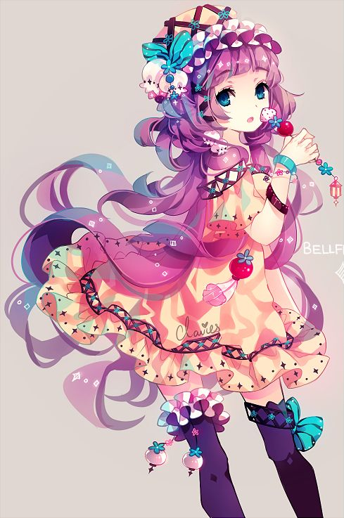 (๑・㉨・๑) ✮ ANIME ART ✮ Anime Girl with Colourful Dress and hair. Filled with sweets.