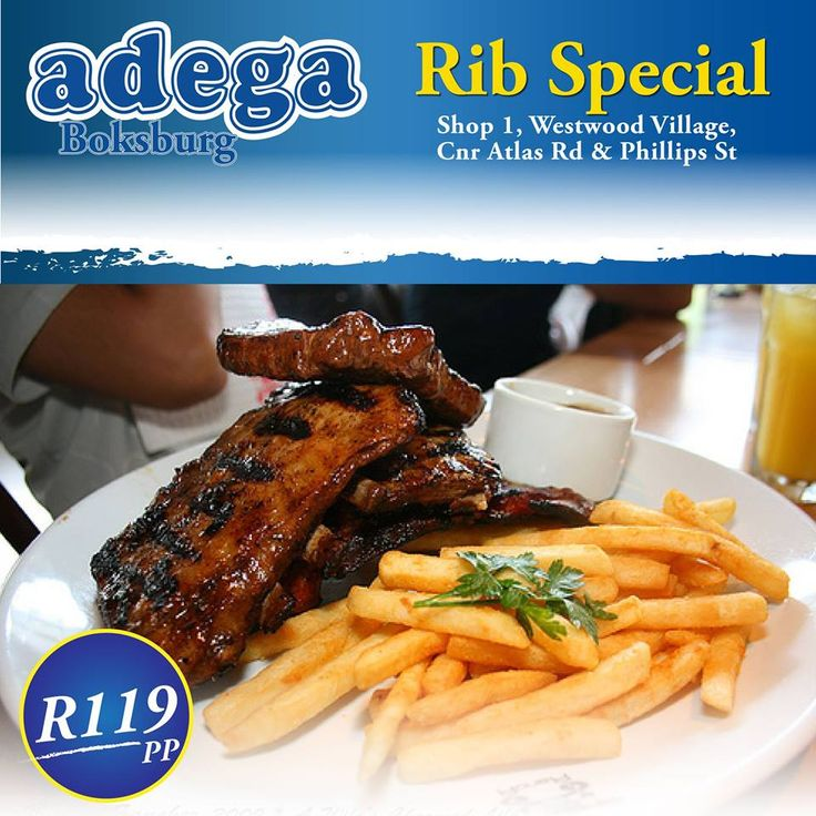 RIB SPECIAL @ ADEGA BOKSBURG (10/01/2016-13/01/2016):  *1kg Ribs & Chips for only R119! Enjoy it every Sunday from 4pm, All day Monday and Tuesday and Wednesday til 5pm. Don't miss out! Book your table today 011 918 2219. T's&C's apply. Shop 1, Westwood Village, Corner Atlas Road & Phillips Street, Boksburg. TRADITIONAL PORTUGUESE CUISINE. ALWAYS GOOD. ALWAYS OPEN #RibsAndChips #AdegaBoksburg