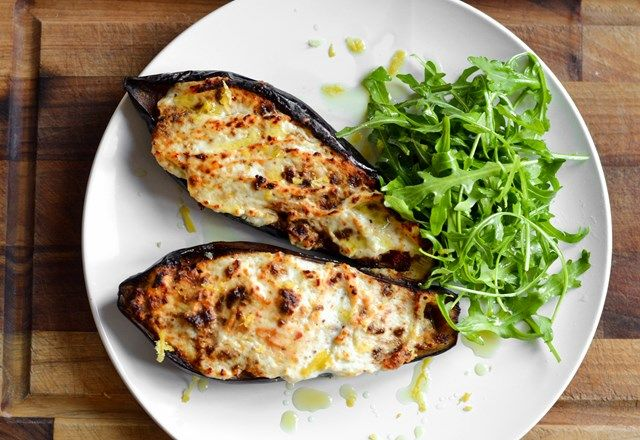 Aubergine stuffed with Quorn ragu, topped with Parmesan, ricotta and lemon zest