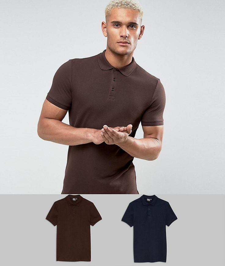 ASOS Muscle Fit Pique Polo 2 Pack SAVE - Multi