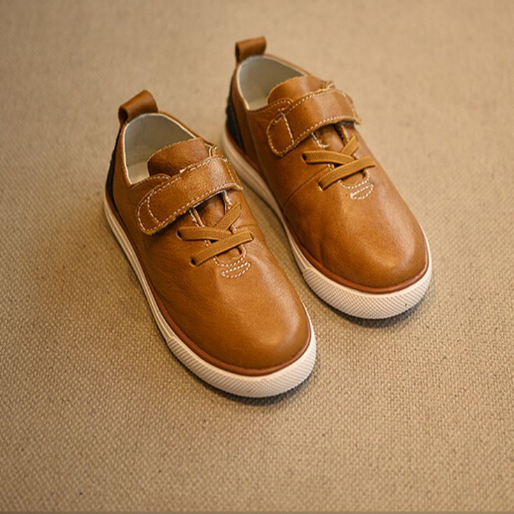 2016 spring child cowhide single shoes male female child genuine leather soft outsole velcro Moccasins alishoppbrasil