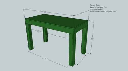 Featuring double doors and built from a standard 1/4 sheet of MDF as a desktop, this simple plan will give you a sturdy modern parson style desk.