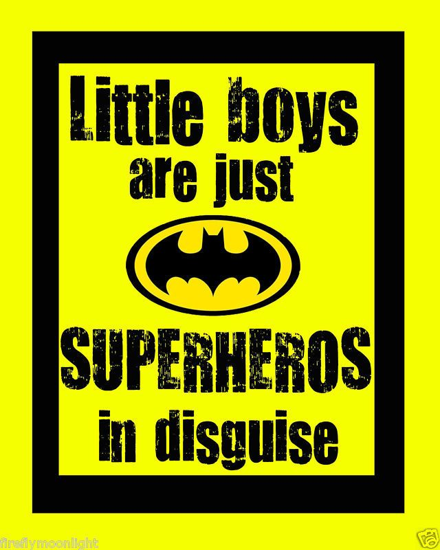 """Little Boys Superhero"" Quote Boy Room Wall Art Decore 
