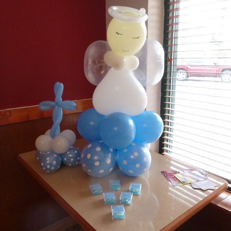 See my work on facebook rosielloons angel balloons for Balloon decoration ideas for christening