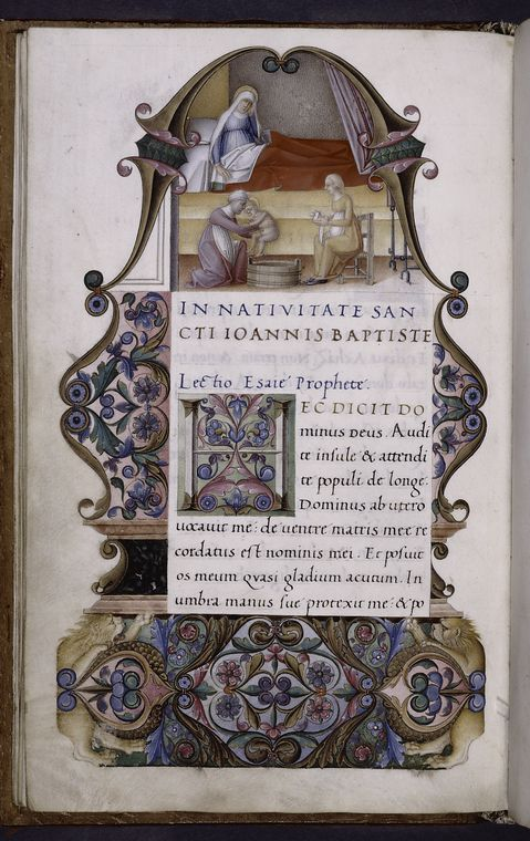 Miniature of Birth of John the Baptist. Border design, initial, rubrics. rustic capitals. (ca. 1520)