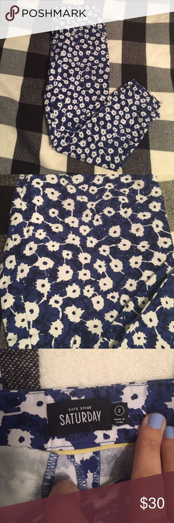 Katr Spade Saturday Pants These are super cozy, chino style printed, cropped pants. In between a Capri length and ankle length. Kate spade Saturday was an extension of Kate spade for more lounge, casual clothes that is no longer running. kate spade Pants Ankle & Cropped