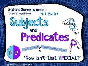 """Subjects and Predicates CAN be fun! Packed with unique memory aids, fresh practice sentences, tons of animations, and interactive features to keep your students engaged, """"Sentence Structure Lessons #1: Subjects and Predicates"""" is a PowerPoint-based lesson designed to teach students to identify the subject and predicate of a sentence."""