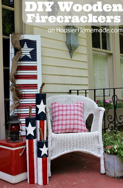 DIY Wooden Firecrackers: Summer Front Porch Decorating on HoosierHomemade.com