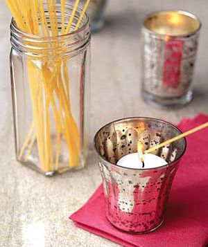 Instead of extra long matches, use an uncooked piece of spaghetti to light multiple or hard to reach candles.