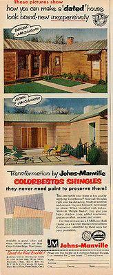 Asbestos House Shingles Johns Manville Colorbestos Asbestos 1956 Ad