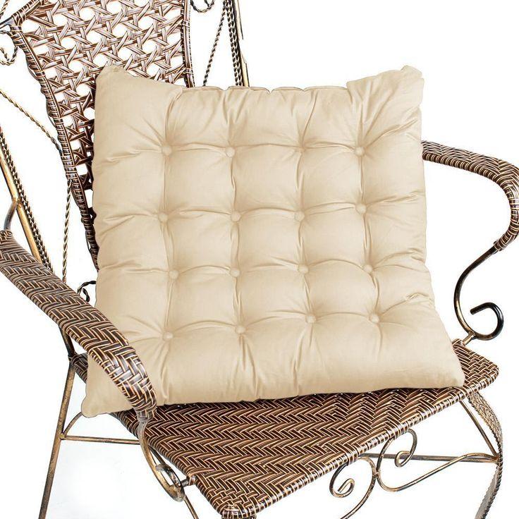 Beige Dining Kitchen Chairs Cushion Seat Pad Warm Soft Grid Cotton 42Cm