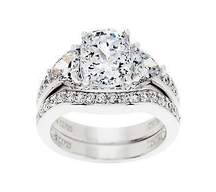 epiphany diamonique 2 piece bridal ring set - Diamonique Wedding Rings