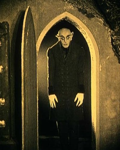 "Nosferatu  (1922). Vampire Count Orlok expresses interest in a new residence and real estate agent Hutter's wife. Silent classic based on the story ""Dracula."""