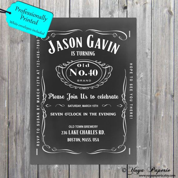 Whiskey Label Birthday Invitation/Jack Daniels by YuyaPaperie