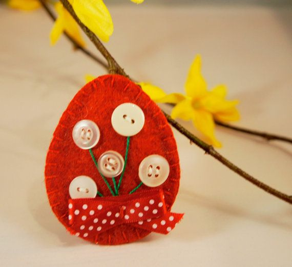 Felt easter egg ornament  with button flower by PrettyFeltThings