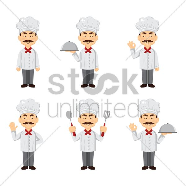 set of chef icons vector graphic