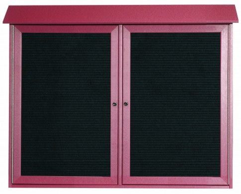 PLD3645-2L-7. Rosewood Two Door Hinged Door Plastic Lumber Message Center with Letter Board. 36″ High x 45″ Wide
