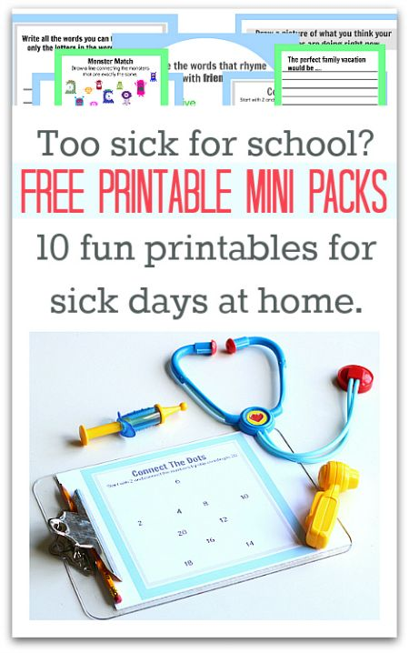 FREE Printable Activity Sheets for kids stuck at home because they are sick or because of bad weather. Perfect for Kindergarten & 1st grade.