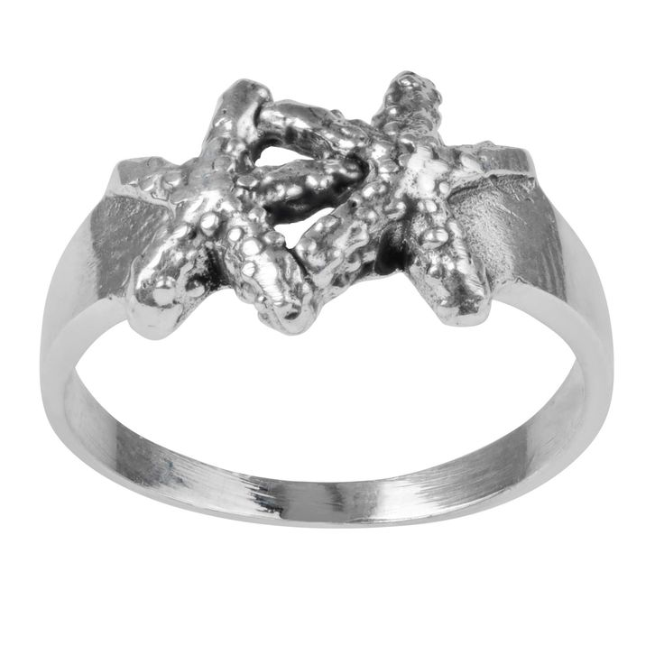 Women's Journee Collection Textured Double Starfish Ring in Sterling Silver - Silver, 6