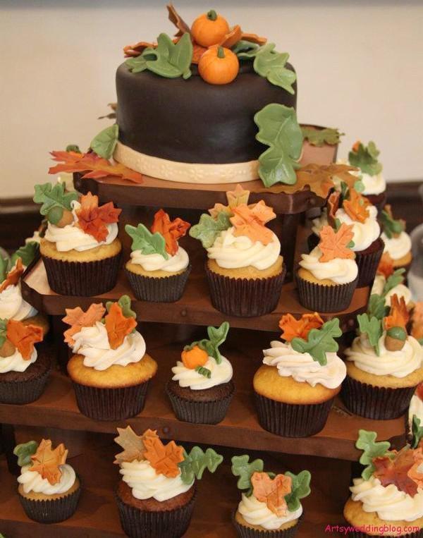 Fall Wedding Cake/Cupcakes