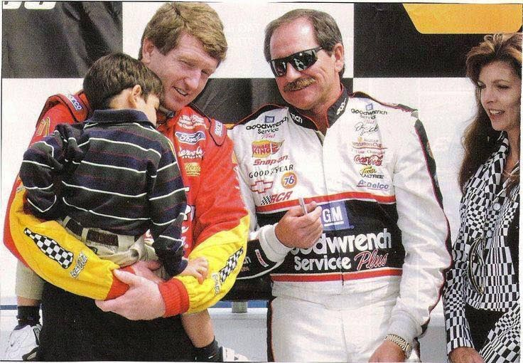 Chase Elliot pictured with Dale Earnhardt Sr. and Bill Elliot.