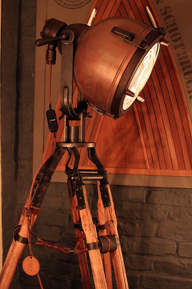 floor lamp  rare industrial spotlight  tripod  by Olliwoodisland
