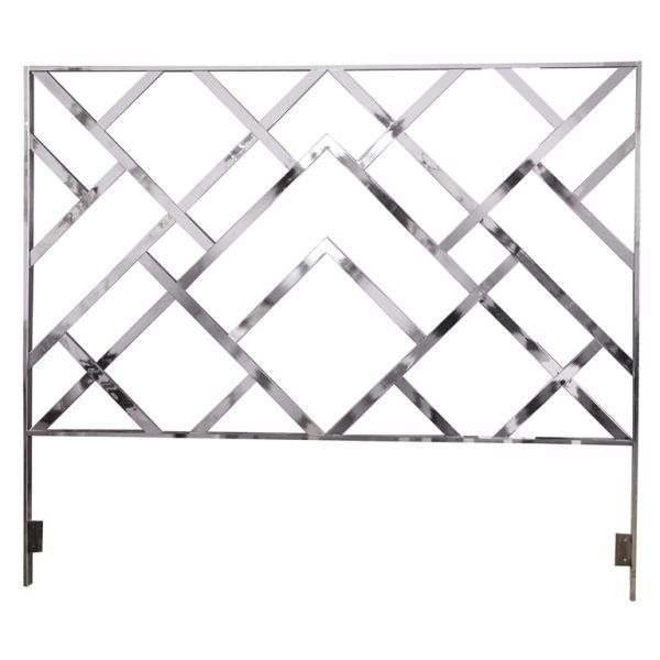 The  Huge Geometric Chrome King Headboard from Harris Kratz is available through 1st Dibbs. Powerful and shiny, its lattice pattern is perfectly in style!
