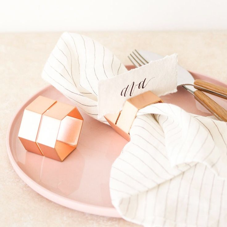 Rose gold brass napkin ring and place