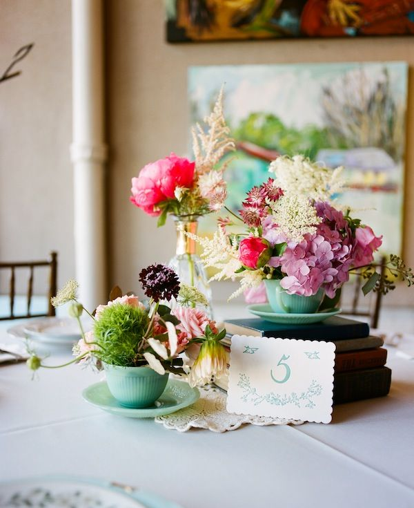Love the varied shapes, colors and textures.    sweet floral + teacup centerpieces | 509 Photo