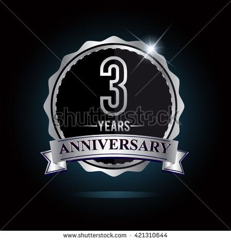 3rd anniversary logo with ribbon. 3 years anniversary signs illustration. Silver anniversary logo with ribbon. - stock vector