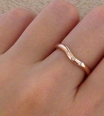 Excellent Tiffany Co Elsa Peretti 3 Diamonds Curved Band Ring Rose Gold 750 13 Best Wedding Bands Images On