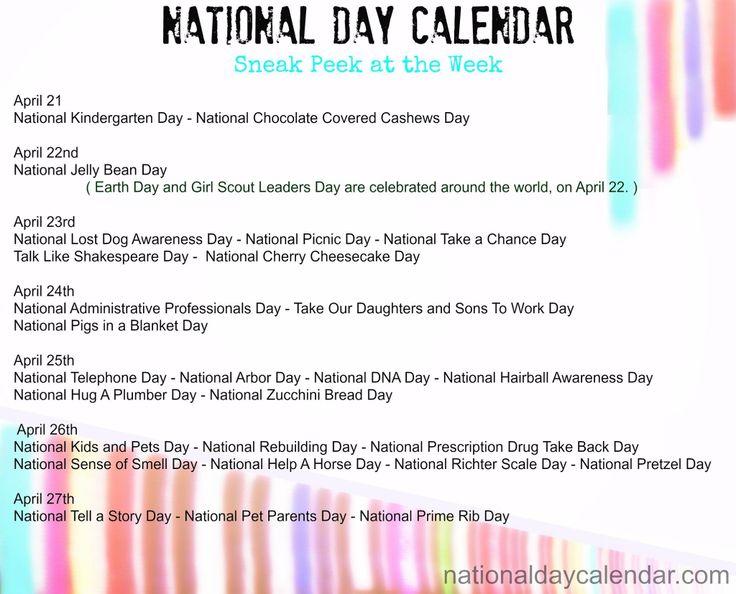 April Calendar National Days : National day calendar random days pinterest