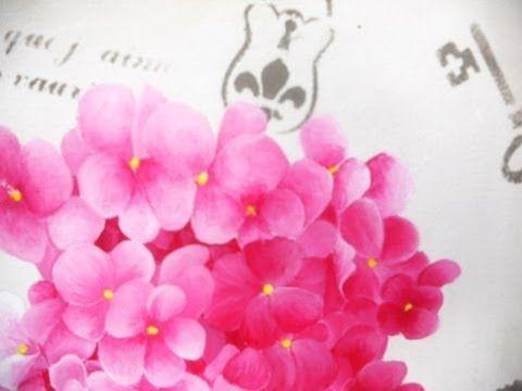 Como pintar cuadro de Hortensias - Mabel Blanco - Pinceles Silver Falcon - YouTube