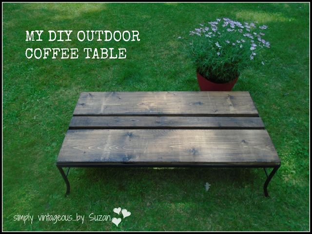Simply vintageous by suzan diy outdoor coffee table for Rustic outdoor coffee table