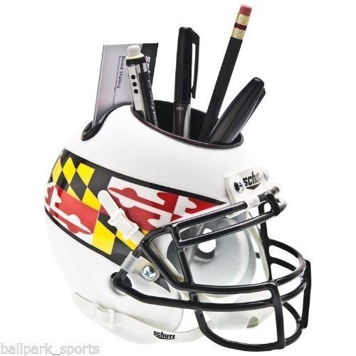 MARYLAND TERRAPINS (WHITE FLAG) Mini Helmet Desk Caddy #NCAAHELMETCADDY