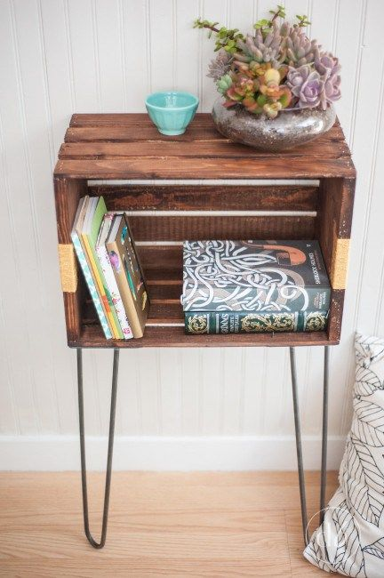 Diy nightstand from a crate