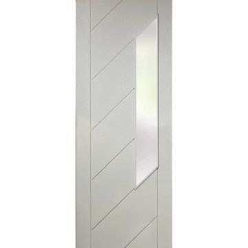 Image of Five Monza White Primed Doors with Obscure Safety Glass