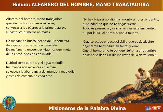 MISIONEROS DE LA PALABRA DIVINA: HIMNO LAUDES -  ALFARERO DEL HOMBRE, MANO TRABAJAD...
